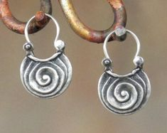 Sterling Silver Twist Earrings - hoop style