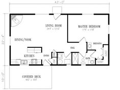 40x20 1 bedroom house plans square feet 1 bedrooms 1 - One Bedroom House Plans