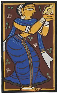 Jamini Roy - Untitled (Worshipper)