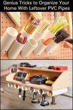 Woodworking Garage Organization PVC Pipes 32 Ideas For 2019 . - Woodworking Garage Organization PVC Pipes 32 Ideas For 2019 # ideas - Garage Workshop Organization, Garage Tool Storage, Workshop Storage, Garage Tools, Diy Storage, Garage Ideas, Organization Ideas, Pvc Pipe Storage, Workbench Organization