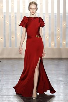 Deep Red Satin Evening Dress by Jenny Packham