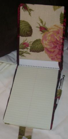 pink roses cover for steno pad with pen slot to attach pen