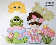 Girl Frog Paper Pieced PreMade Die Cuts Scrapbook Album Border danderson651 #Unbranded