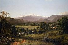"""Mount Washington."" John Frederick Kensett painted a monumental canvas of Mount Washington that has become an icon of White Mountain art. ""Mount Washington from the Valley of Conway"" was purchased by the American Art Union, made into an engraving by James Smillie, and distributed to 13,000 Art Union subscribers throughout the country. . Currier and Ives published a similar print in about 1860. This single painting by Kensett helped to popularize the White Mountain region of New Hampshire."