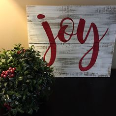 Items similar to Joy sign, Christmas sign, Pallet wall art, Christmas pallet sign. rustic Christmas decor, reclaimed Christmas sign on Etsy Christmas Pallet Signs, Christmas Wall Art, Rustic Christmas, Christmas Projects, All Things Christmas, Holiday Crafts, Christmas Crafts, Christmas Decorations, Christmas Ornaments