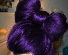 Dark purple hair / hair bun / bow bun / bow hair