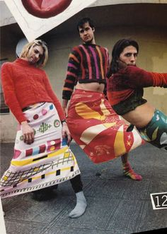 1993 style: Kurt Cobain wearing a Dries Van Noten sweater. Dave Grohl in a Todd Oldham sweater. Krist Novoselic in a Joan Vass sweater. All scarves (shown as skirts) by Gene Meyer.