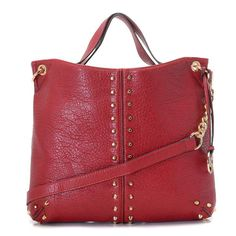 """Michael Kors Uptown Astor Large Shoulder Tote Bordeaux Lambskin Leather Products Description * Bordeaux leather with golden studs. * Golden hardware. * Top handles. * Shoulder strap with rings and chain detail. * Snap closure. * Hanging logo charm. * Stud detail on front and sides. * 12""""H x 16""""W x 3""""D."""