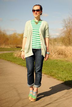 Old Navy Mint Green Cardigan, Gap Striped Shirt, Gap Jeans, Nine West Blue And Green Wedges