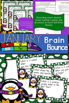 This great January Word of the Day vocabulary game is based on winter words from our January Word of the Day calendar. It is one of our new Word of the Day Brain Bounce games to help your kiddos practice ELA skills. You can also use these cards in a January or winter center or as a Scoot game. Some teachers have used the cards as a read around the room activity or as exit cards. This is a great winter activity to play during the month of January!