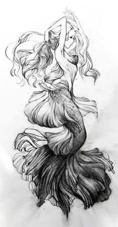 Ocean sleeve Nautical themed tattoos and Merm Mermaid Sleeve Tattoos, Mermaid Tattoo Designs, Sleeve Tattoos For Women, Tattoo Sleeve Designs, Tattoo Mermaid, Mermaid Sketch, Mermaid Drawings, Mermaid Art, Mermaid Tails