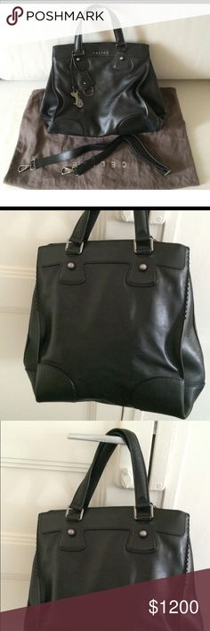 Celine Orlov bag in beautiful black leather. Celine Orlov bag in beautiful black leather, with dust bag, strap and bag ornaments (carriage and key holder). In immaculate condition, minimal signs of wear. Practical with three spacious compartments for carrying documents, and even a laptop. Width : 15.7 inches. Height : 14.6 inches. This bad does come with Authenticity cards. Celine Bags