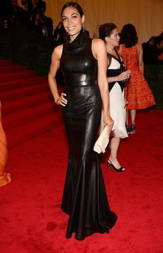 black leather dress on rosario dawson at the met costume institute gala 2012