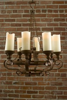 Rustic chandelier base with battery-powered LED candles for the playhouse