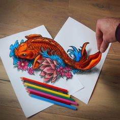 Traditional Japanese Koi Fish. Optical Illusions in 3D Drawings. By Ramon Bruin.