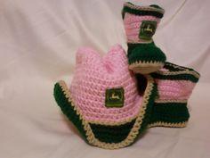 John Deere Baby Girl Cowboy Hat & Booties