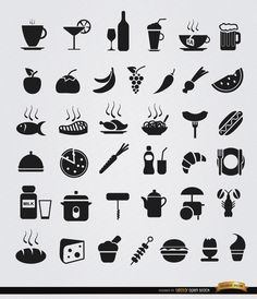 This set contains simple flat icons for common food and drinks like wine, beer, tear, chicken, meat, fish, and other delicious dishes, fruits, desserts, etc. These are perfect for using in menus for restaurants, icons for articles, websites, files, etc. High quality JPG included. Under Commons 4.0. Attribution License.