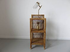 Bookshelf or nightstand rattan 3 tablets made in France 1950 1960 50