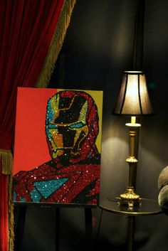 Iron Man Glitter Art by Vanessa Robles Movie Marathon, Glitter Art, Diamond Art, Wonder Women, Marvel Movies, Canvases, Iron Man, Cool Art, Art Ideas