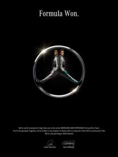 "Mercedes celebrating the F1 world championship title print ad ""formula won""."