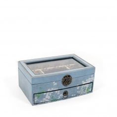 Pale Blue Jewellery Box with Glass Lid - £19.00