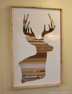 "this piece uses scraps of wood and burlap under a ""beadboard"" cutout, but I think it could be just as cool (and cheaper) with textured paper under a cardstock mat."