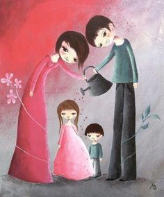 We watch our children grow to be strong & to make a difference Maria Montessori, Education Positive, Montessori Education, Baby Kind, Illustrations, Mother And Child, Cute Illustration, Family Illustration, Whimsical