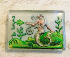 Rare vintage mermaid intaglio reverse painted carved cab by a2zDesigns/etsy