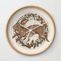 Rabbit Wall Clock by jessicaroux | Society6
