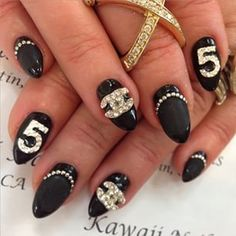 Chanel chanelnails cool crazy unique nail design pinterest chanel nail art black and bling nail design prinsesfo Image collections