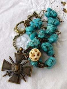 vintage repurposed assemblage jewelry turquoise by atelierparis, $189.00