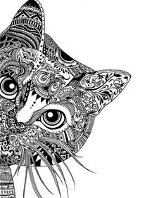 Adult Coloring Pages: Cat-2