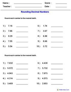 Round Decimals to the Nearest Tenth Worksheets - 5th Grade Math ...