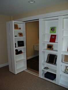 Bookshelf closet doors — HOW is it possible I never thought of this? Bookshelf closet doors — HOW is it possible I never thought of this? House Design, House, Small Spaces, Home Projects, Home, New Homes, Hidden Rooms, Home Diy, Bookshelf Closet