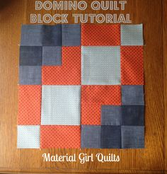 """Domino Quilt Block {a tutorial} – Material Girl Quilts I have recently joined an amazing group of local quilters for our own """"sewing bee"""". We met for the first time last month and came up with a challenge to create a block inspired by a ph… Quilting Tutorials, Quilting Projects, Quilting Designs, Sewing Projects, Quilting Tips, Quilt Block Patterns, Pattern Blocks, Quilt Blocks, Owl Patterns"""