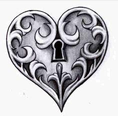 Lock drawing – name Key Drawings, Cool Art Drawings, Art Drawings Sketches, Tattoo Drawings, Body Art Tattoos, Pencil Drawings, Tatoos, Heart Drawings, Tattoo Art