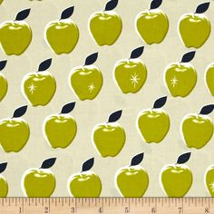 Cotton & Steel Picnic Apples Citron from @fabricdotcom  Designed by Melody Miller for Cotton + Steel, this cotton print fabric is perfect for quilting, apparel and home decor accents. Colors include cream, white, green and navy blue.
