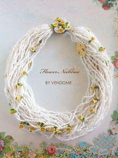 ホワイトビーズと黄色いお花のヴィンテージネックレス VENDOME(ヴァンドーム)