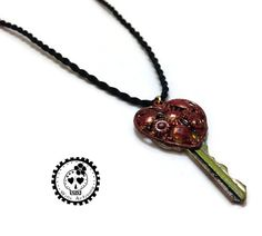 Red Heart Key Pendant on Black Cord Refashioned by WinkArtisans. Key Pendant, Refashion, Upcycle, Cord, Brooch, Heart, Bracelets, Earrings, How To Make