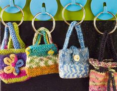 Free knitting pattern for Mini Key Ring Purses - Kathy Sasser designed these cute key ring fobs for Red Heart. Perfect for scrap yarn and multi-color yarn! Crochet Gifts, Free Crochet, Knit Crochet, Crochet Socks, Knitted Gifts, Knitting Patterns Free, Free Knitting, Crochet Patterns, Purse Patterns Free