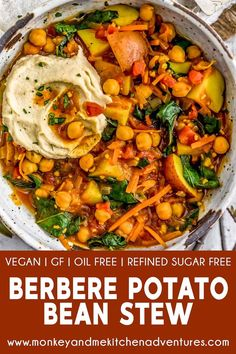This Berbere Potato Bean Stew is a dish of dreams with bold spices, hearty potatoes, protein-packed chickpeas, and nourishing kale simmered to perfection. Soup Recipes, Whole Food Recipes, Vegetarian Recipes, Dinner Recipes, Vegetable Recipes, Berbere Spice, Bean Stew, Vegan Soups, Vegan Food