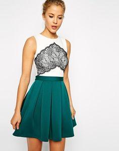 ASOS Lace Panel Bonded Skirt Skater Dress