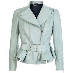 Alexander McQueen Peplum Hem Biker Jacket ($3,390) ❤ liked on Polyvore featuring outerwear, jackets, coats, alexander mcqueen, green biker jacket, green jacket, motorcycle jackets and biker jacket