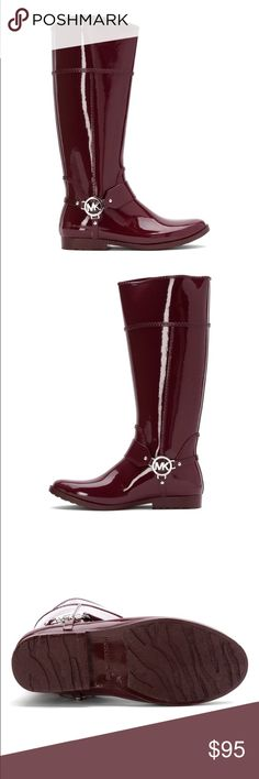 michael kors // burgundy rain boot NWT burgundy Michael Kors rain boots, size 8. Gorgeous color that is perfect for fall! TTS. Silver MK harness logo. Only selling because I already have rain boots I love! 🌂☔️🌧 MICHAEL Michael Kors Shoes Winter & Rain Boots