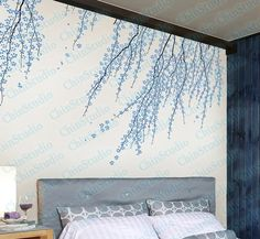 Tree vinyl wall decals wall stickers nursery vinyl decals -Cherry blossom tree wall arts for living room. $68.95, via Etsy.