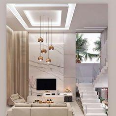 House Ceiling Design, Ceiling Design Living Room, Bedroom False Ceiling Design, Home Room Design, Interior Design Living Room, High Ceiling Living Room Modern, Home Living Room, Modern Living, Modern Room