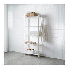 IKEA - MULIG, Hylle, hvit, , Kan også brukes i baderom og våtrom.hyllene er slitesterke, flekkbestandige og enkle å rengjøre.Heng alt fra verktøy og sportsutstyr til håndklær og skittentøyposer på den korte siden av hyllen, med de 4 inkluderte krokene.Gjem bort og beskytt tingene og hyllene mot støv og smuss med MULIG trekk, som selges separat.