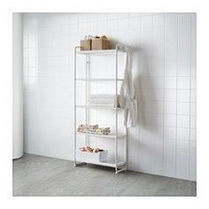 IKEA - MULIG, Shelf unit, white, , Can also be used in bathrooms and other damp indoor areas.The shelves are durable, stain resistant and…