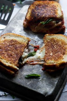 Pizza Margherita Grilled Cheese - Cooking for Keeps