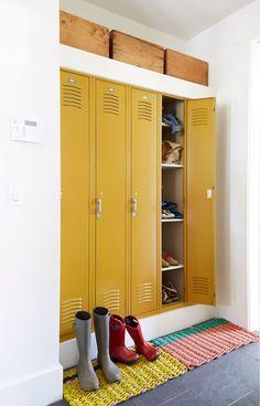 Vintage Lockers, Metal Lockers, Mud Room Lockers, Home Lockers, Built In Lockers, Style At Home, Steel Cupboard, Brighten Room, Mudroom